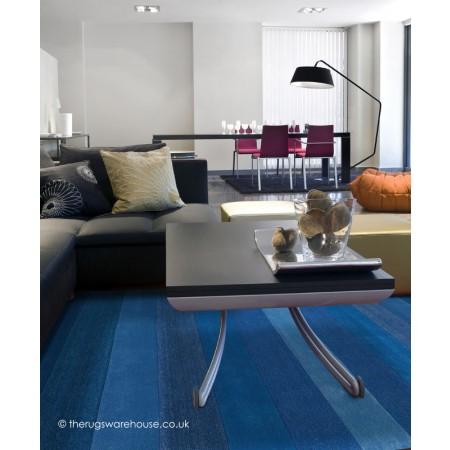 Altea Wide Stripes Blue Rug