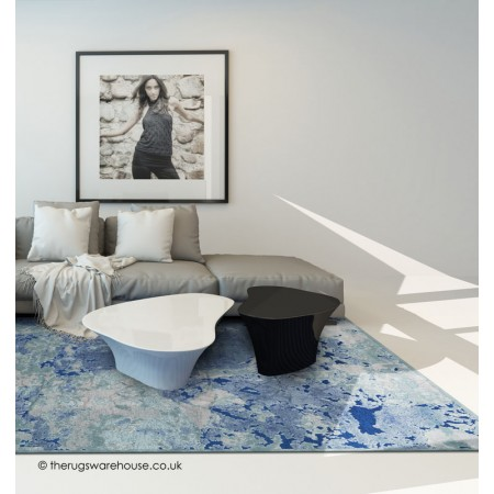 Antigua Abstract Blue Rug