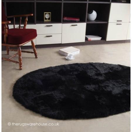 Longwool Black Oval Rug
