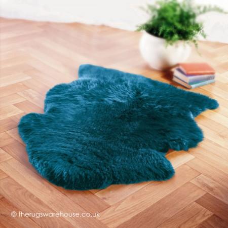 Peacock Blue Sheepskin Rug