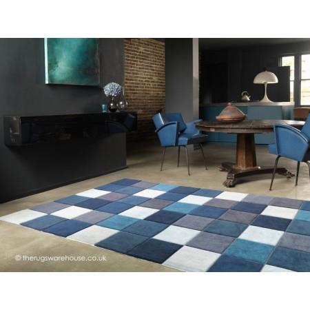 Eden Squares Blue Rug