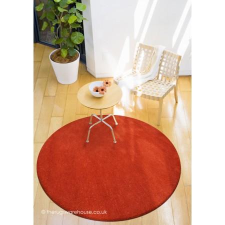 Comfort Burnt Orange Circle Rug