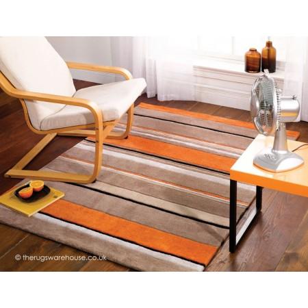 Orange Broad Stripe Rug