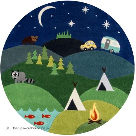 Camping Circle Rug