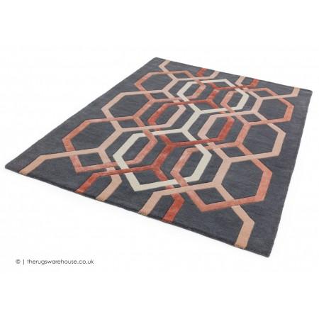 Matrix Hexagon Charcoal Rug