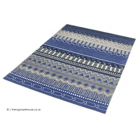 Tribal Stripes Blue Rug