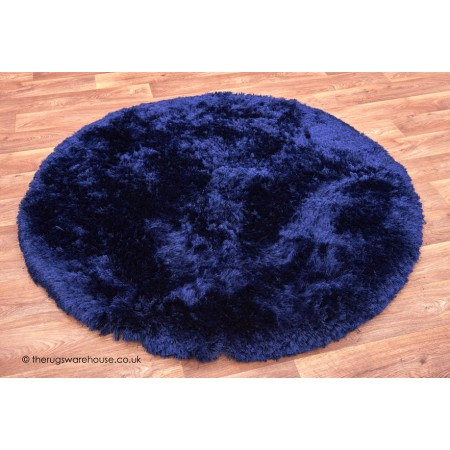 Plush Blue Circle Rug