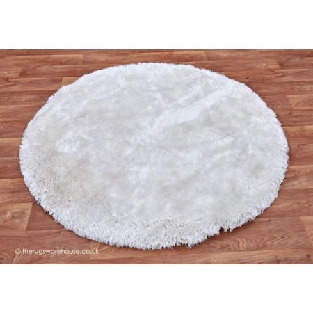 Plush White Circle Rug
