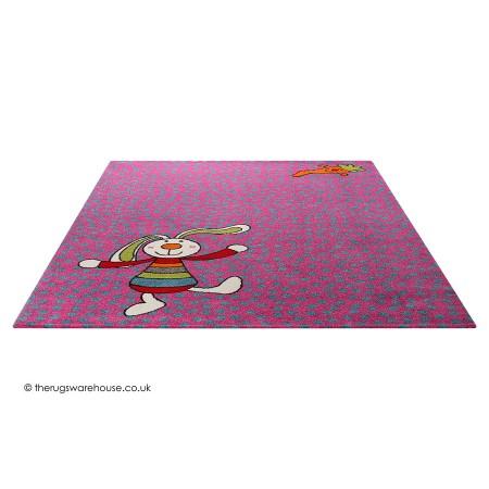 Rainbow Rabbit Purple Rug
