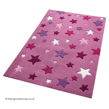Simple Stars Pink Rug