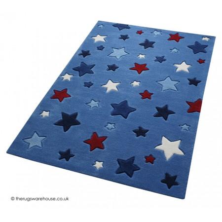 Simple Stars Blue Rug