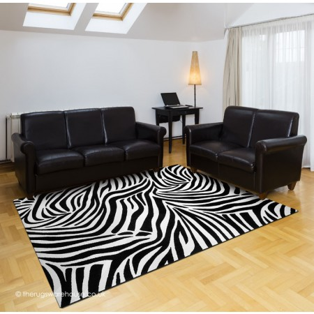 Jungle Zebra Black Rug