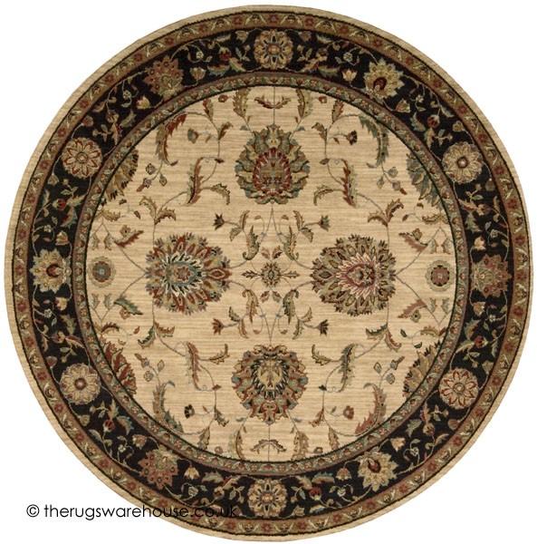 Patina Ivory Black Circle Rug