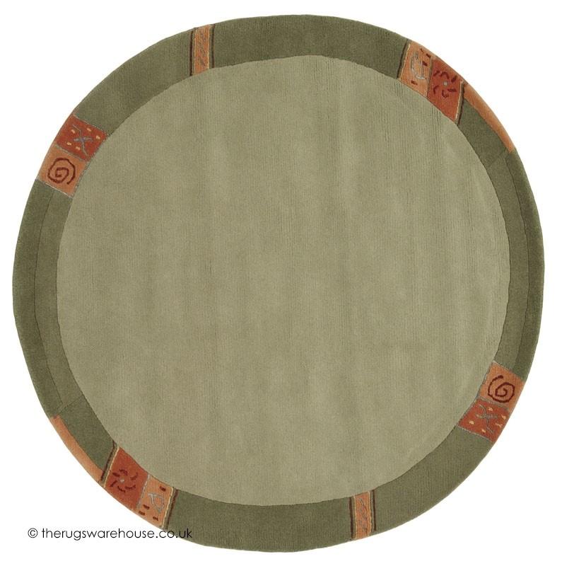 Manali Green Circle Rug