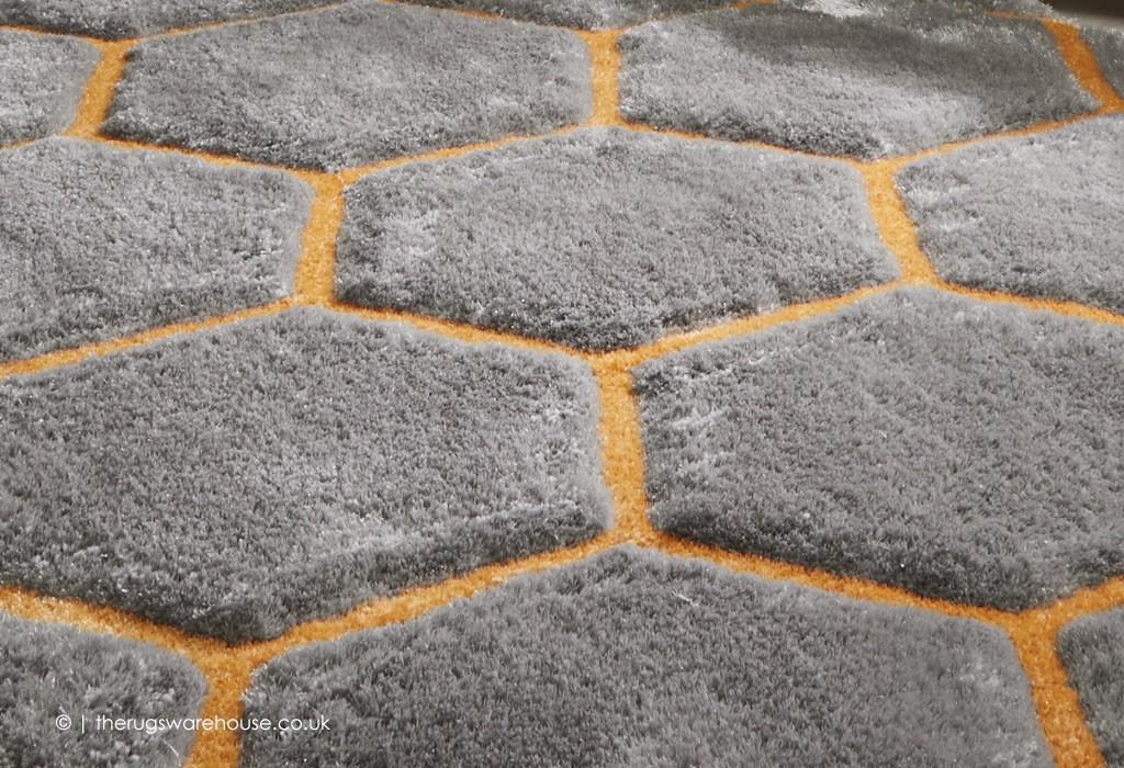 Honeycomb Grey Ochre Rug