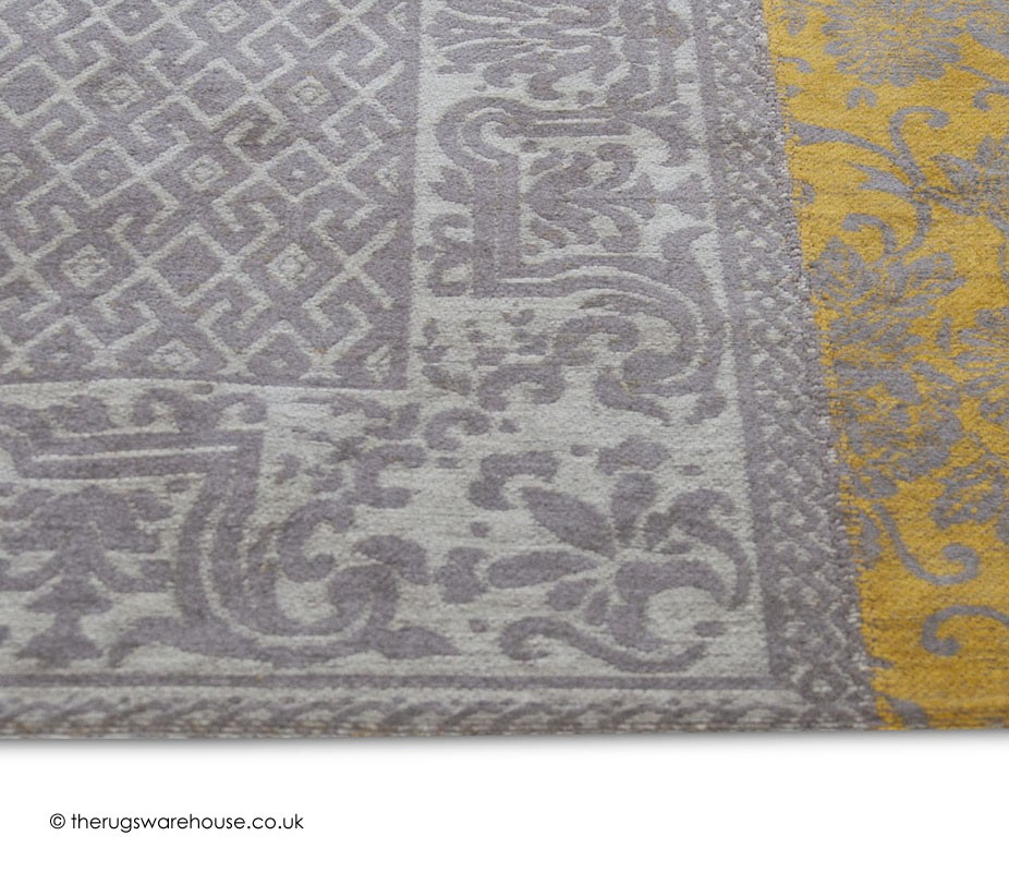 Vintage yellow rug Tapis vintage patchwork
