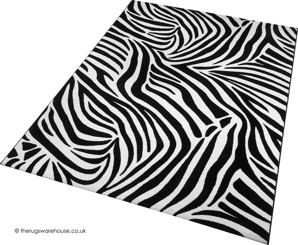 Jungle Zebra Black Rug Animal Print Rugs