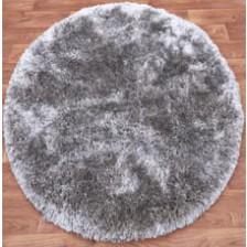 Plush Silver Circle Rug