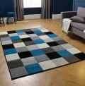 Portland Squares Grey Blue Rug
